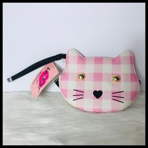 BETSEY JOHNSON PINK & WHITE KITTY COIN PURSE